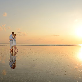 Walking on Air by Andrew Morgan - Wedding Bride & Groom ( sunset sea wedding zanzibar paradise love )