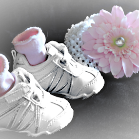 Memories of Our Little Girl by Sherry Hallemeier - Artistic Objects Clothing & Accessories ( shoes, girl, headband, socks, pink, baby, accessories, tennis shoes, hat )