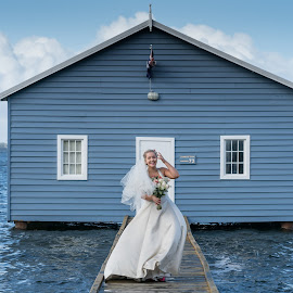 Something blue by Kelly Gordon - Wedding Bride ( blue, wedding, boat shed, bride, river )