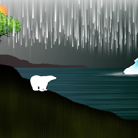 Wanderer by Paul Griffin - Illustration Flowers & Nature ( wander, polar, bear, winter, scape, nature, change, wanderer, sea, climate )