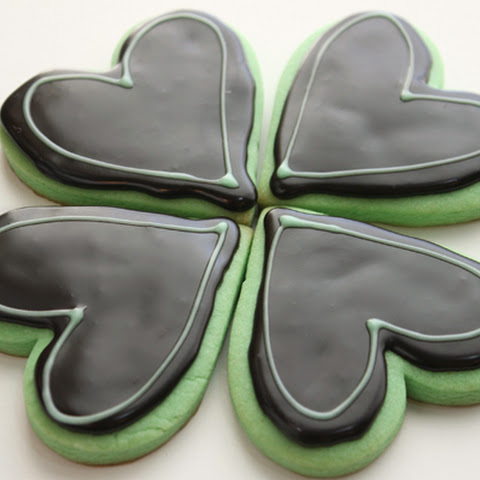 Mint Cut-Out Cookies with Dark Chocolate Glaze Icing