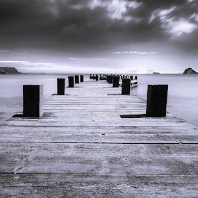 Gangway by Maurizio Mameli - Black & White Landscapes ( blackandwhite, sardinia, white, sea, seascape, landscape, gangway, black )