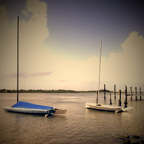 Sail boats on the river by Blake Coln - Transportation Boats
