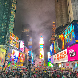 Times Square by Joe Chowaniec - City,  Street & Park  Historic Districts ( times square, night, new york, city )