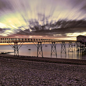 Pre dawn at Selsey Fishing Pier by Anthony D'Angio - Landscapes Sunsets & Sunrises ( water, clouds, dawn, sussex, pier, sea, sunrise, beach )
