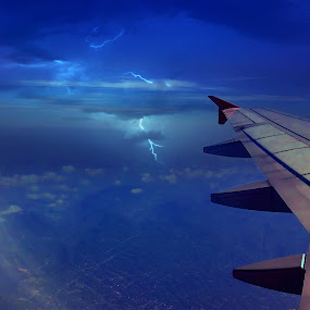 Lightning by Brothers Photography - Instagram & Mobile Other ( flight, lightning, blue sky, plane, blue, aerial, , bolt )