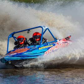 by Derek Clark - Sports & Fitness Watersports ( water, spray, v8 jet boat, grass, speed )