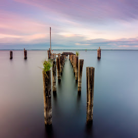 Lake Monroe Dock by James Marro - Landscapes Sunsets & Sunrises ( clouds, water, smooth, sanford, us, lake, usa, dock, 10 stop, fl, sky, florida, sunset, lake monroe, long exposure )