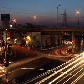 Busy Life of City Through Night Trails by Ankush II - Buildings & Architecture Public & Historical ( lights, road trip, busy, night, bridge, ludhiana, street photography, city )