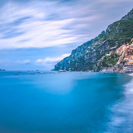 Positano on Amalfi Shores by Arif Sarıyıldız - City,  Street & Park  Vistas ( positano, amalfi, colurful, long exposure, travel, sea )