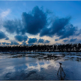 Capturing Cloud by Anindya Karmakar - Landscapes Travel ( reflection, sky, blue, cloud, trees, tripod )