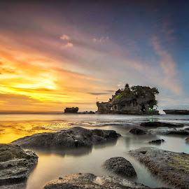 Sunset at tanah lot bali by Pratiwanjono Pratiwanjono - Landscapes Beaches ( bali, indonesia, sunset, stone, sunrise, tanahlot )