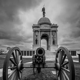 Gettysburg National Cemetery by Matthew Ware - Buildings & Architecture Statues & Monuments ( national park, close-focus wide angle, black & white, monument, cannon, gettysburg )