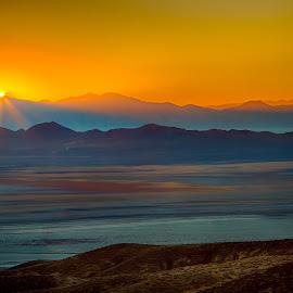 Nevada Desert Sunrise by Lee Molof - Landscapes Sunsets & Sunrises