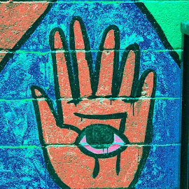 The All Seeing Hand by Matthew Jensen - Digital Art Abstract ( seattle street art, the eye hand, all seeing hand )