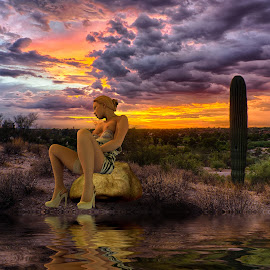 Desert Nude by Charlie Alolkoy - Digital Art People ( reflection, nude, desert, woman, sunset, sunrise )