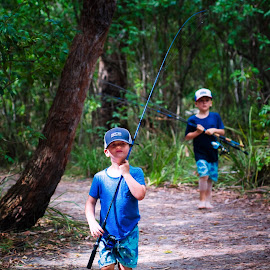 Going Fishin' by Garry Dosa - Babies & Children Children Candids ( outdoors, children, fishing rods, walking, boys, autumn, two )