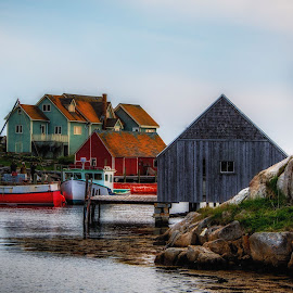 Peggy's Cove by Rita Taylor - Landscapes Waterscapes ( water, buildings, cove houses, fishing )