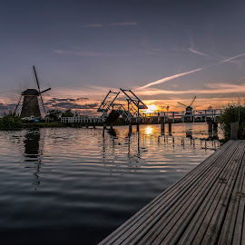 Sunset Kinderdijk by Henk Smit - Landscapes Sunsets & Sunrises