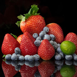 Fruit Group 2 by Jim Downey - Food & Drink Fruits & Vegetables ( red, blue, strawberries, lime, blueberries )