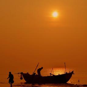 by Sanjiban Ghosh - Transportation Boats ( , silhouette )