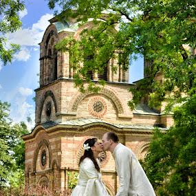by Foto Zrak - Wedding Bride & Groom ( srbija, wedding photography, beautiful, wedding dress, sun, love, sky, wedding, wedding day, weddings, foto zrak, kruševac, couple, bride and groom, wedding photographer )