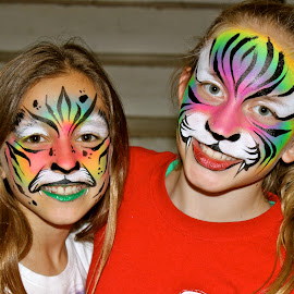 Best friends.  by Peter DiMarco - People Body Art/Tattoos ( face paint, body art, children, people, face painting )