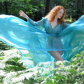 Blue Wings, Red Hair by DJ Cockburn - Nudes & Boudoir Boudoir ( natural light, nature, woman, diaphanous, redhead, forest, ivory flame, sheer, standing, portrait, blue dress )