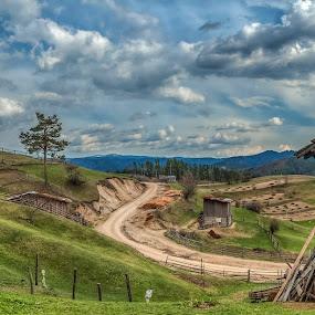 Mecho korito by Petar Shipchanov - Landscapes Mountains & Hills ( clouds, sky, mountain, village, hdr, rhodopes mountain, winnie trough, panorama, bulgaria )