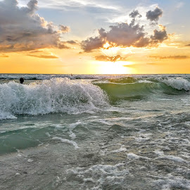 Swimming amoung the waves in the gulf at Sunset  by Jeffrey Lee - Landscapes Sunsets & Sunrises ( swimming in the waves in the gulf at sunset )