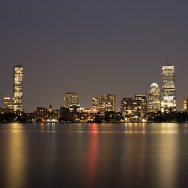 Boston FC Skyline by Harish Kumar K - Buildings & Architecture Office Buildings & Hotels ( boston, canvas, wallpaper, nightscape, skyline, long exposure, building, architecture, night photography )