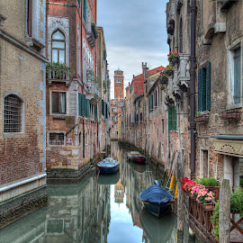Quiet Morning in Venice by Peter Kennett - City,  Street & Park  Neighborhoods ( water, canals, reflection, boats, venice, morning, canal, italy )