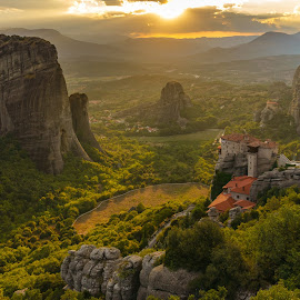 Meteora by Claudiu Drocas - Landscapes Sunsets & Sunrises ( meteora, sunset, greece, monastery, rocks,  )