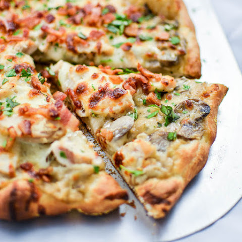 Creamy Mushroom and Chicken Pizza with Bacon and Basil