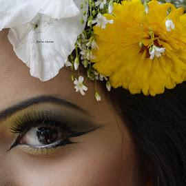 beautiful eye , by Sofia Zaman - People Body Parts ( face, eyelashes, flowers, eye )