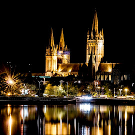 night cathederal by Keith Sutton - Buildings & Architecture Places of Worship ( lights, water, church, cathederal, reflections, truro )