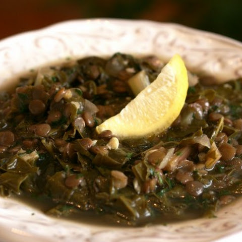 Lentil and Swiss Chard soup with lemon (Adass bel-hamud)