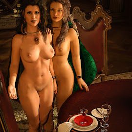 Dinner is Served M'Lord by James Baker - Illustration Sci Fi & Fantasy ( girls, nude, cloak, table, servants, chair, table cloth, wenches, 3d, breasts, feast, dining, castle, brunette, burgundy, room )