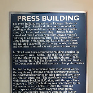 PRESS BUILDING  The Press Building opened as the Pantages Theatre on  August 5, 1912. Retail and office uses enveloped the  building, with ground-floor tenants including a candy  store, dry cleaner, ...