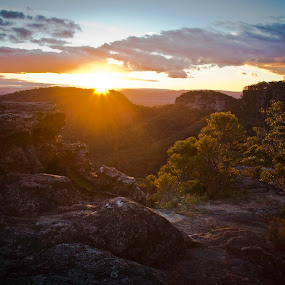 Blue Sunset by Bronwyn Holmes - Landscapes Mountains & Hills ( blue mountains, mount vistoria, sunset view from sunset rock )