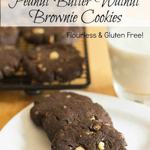 Flourless Peanut Butter Walnut Brownie Cookies