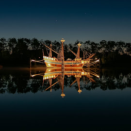Manteo Elizabethan Ship Evening Reflections by Norma Brandsberg - Transportation Boats ( www.elegantfinephotography.com, award winning, nbrandsberg@gmail.com, photographer, norma brandsberg, photography,  )