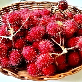 rambutan by Carina de Pano - Food & Drink Fruits & Vegetables ( fleshy, sweet, spikes, red, fruits from the backyard, fruit favorites )
