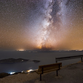 Bench of Galaxy by Grigoris Koulouriotis - Landscapes Starscapes ( sky, night photography, bench, stars, sea, long exposure, view, galaxy, milky way, nightscape )