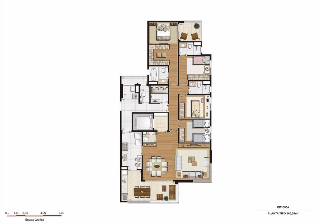Planta Tipo - 165 m²