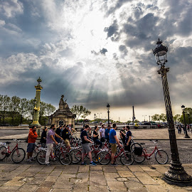 Cyclists I Concorde Square, Paris by Dipmalya Chatterjee - People Street & Candids ( paris, cyclist, street life, street scene, street photography )