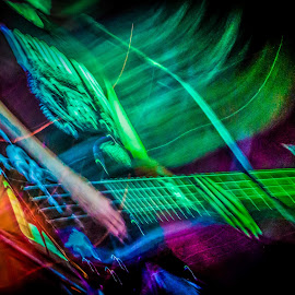 Devious Shredding by Dazz Lee Briggs - Abstract Light Painting ( abstract, music, devious, shredding, rock n roll, lights, bass, movement, digital art, rhythm, stage lights, guitar, musician )
