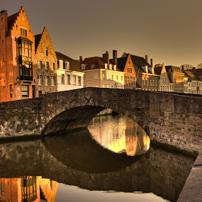 Brugges at Sunset by Peter Kennett - City,  Street & Park  Neighborhoods ( canals, hdr, brugges, bruge, belgium,  )