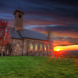 good day by Casey Mitchell - Landscapes Sunsets & Sunrises ( clouds, wow, sky, dawn, church, sunsets, sunset )