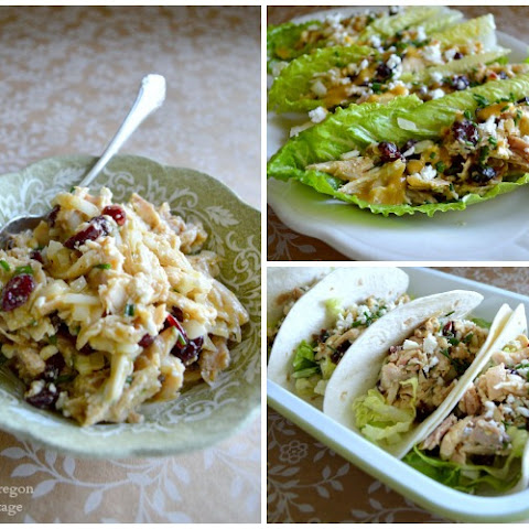 Cranberry Feta Chicken Salad with Chutney Dressing